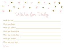 Gold Glitter Graphic Hearts Baby Wishes