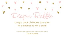 Gold Glitter Graphic Hearts Diaper Raffle Cards