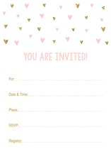Gold Glitter Graphic Hearts Fill-in Invitations