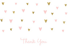 Gold Glitter Graphic Hearts Thank You Cards