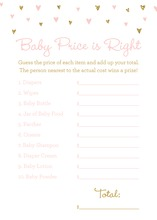 Gold Glitter Graphic Hearts Baby Shower Price Game