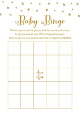 Gold Glitter Graphic Stars Baby Shower Bingo Game