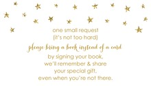 Gold Glitter Graphic Stars Bring A Book Card