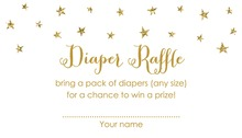 Gold Glitter Graphic Stars Diaper Raffle Cards
