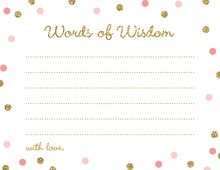 Gold Glitter Graphic Pink Dots Advice Cards