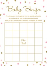 Gold Glitter Graphic Pink Dots Baby Bingo Game