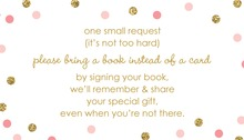 Gold Glitter Graphic Pink Dots Bring A Book Card