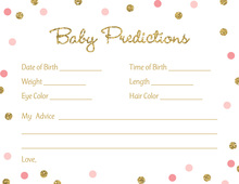 Gold Glitter Graphic Pink Dots Baby Predictions
