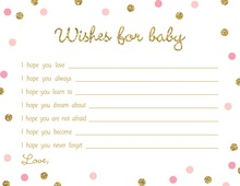 Gold Glitter Graphic Pink Dots Baby Wishes