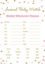 Gold Glitter Graphic Pink Dots Baby Animal Name Game