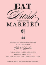 Eat, Drink, and Soon To Be Married Pink Bridal Invites