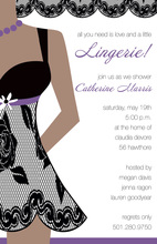 Little Black Lingerie Purple Invitations