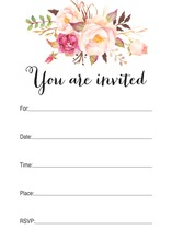 Watercolor Rose Bouquet Black Script Fill-in