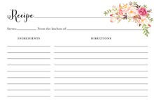 Watercolor Rose Bouquet Black Script Recipe Cards