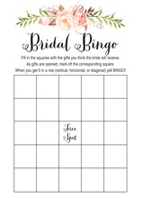 Watercolor Rose Bouquet Black Script Bridal Bingo