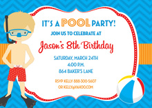 Snorkel Boy Pool Birthday Party Invitations