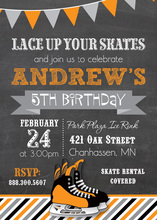 Orange Hockey Skates Chalkboard Birthday Invitations