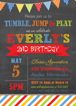 Multicolored Stripes Chalkboard Birthday Invitations