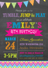 Bright Rainbow Chevrons Chalkboard Birthday Invites