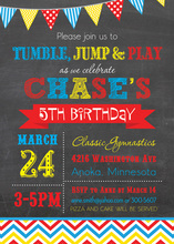 Primary Chevrons Chalkboard Birthday Invitations