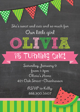 Watermelon Chalkboard Birthday Party Invitations