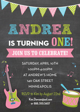 Making Music Pink Birthday Invitations