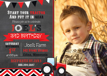 Red Tractor Chevrons Photo Birthday Invitations