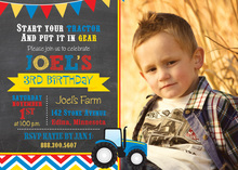 Blue Tractor Chevrons Photo Birthday Invitations