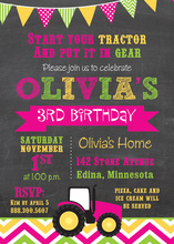 Hot Pink Tractor Chevrons Birthday Invitations