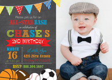 Sporty Chalkboard Photo Invitations