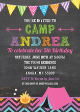 Hot Pink Camping Girls Chalkboard Birthday Invitations