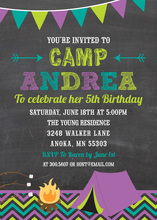 Purple Teal Green Camping Chalkboard Birthday Invites