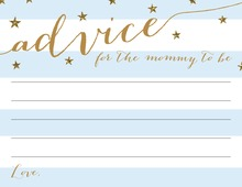 Gold Glitter Stars Blue Stripes Advice Cards