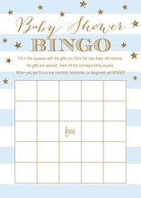 Blue Stripes Gold Glitter Baby Bingo Game Cards