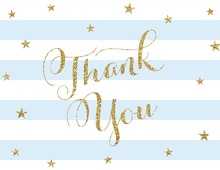Blue Stripes Gold Glitter Thank You Cards