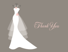 Wedding Dress Flowers Taupe Thank You Cards
