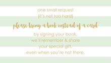 Mint Horizontal Stripes Gold Script Bring A Book Card