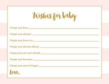Light Pink Horizontal Stripes Gold Script Baby Wishes