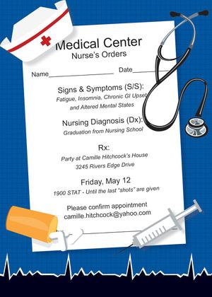 Nurse Orders Graduation Party Invitations