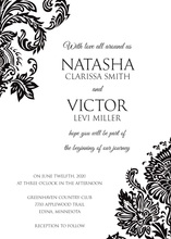 Black Filigree Ornament Frame Invitations