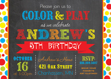 Colorful Dots Chalkboard Birthday Party Invitations