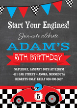 Red Race Car Chalkboard Birthday Party Invitations