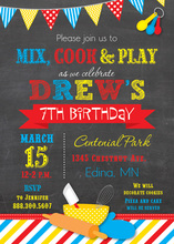 Primary Stripes Cooking Theme Chalkboard Invitations