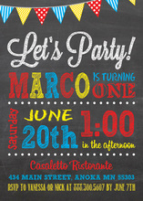 Chalkboard Party Birthday Invitations Primary Colors