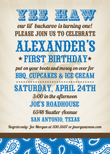 Blue Buckaroo Birthday Invitations