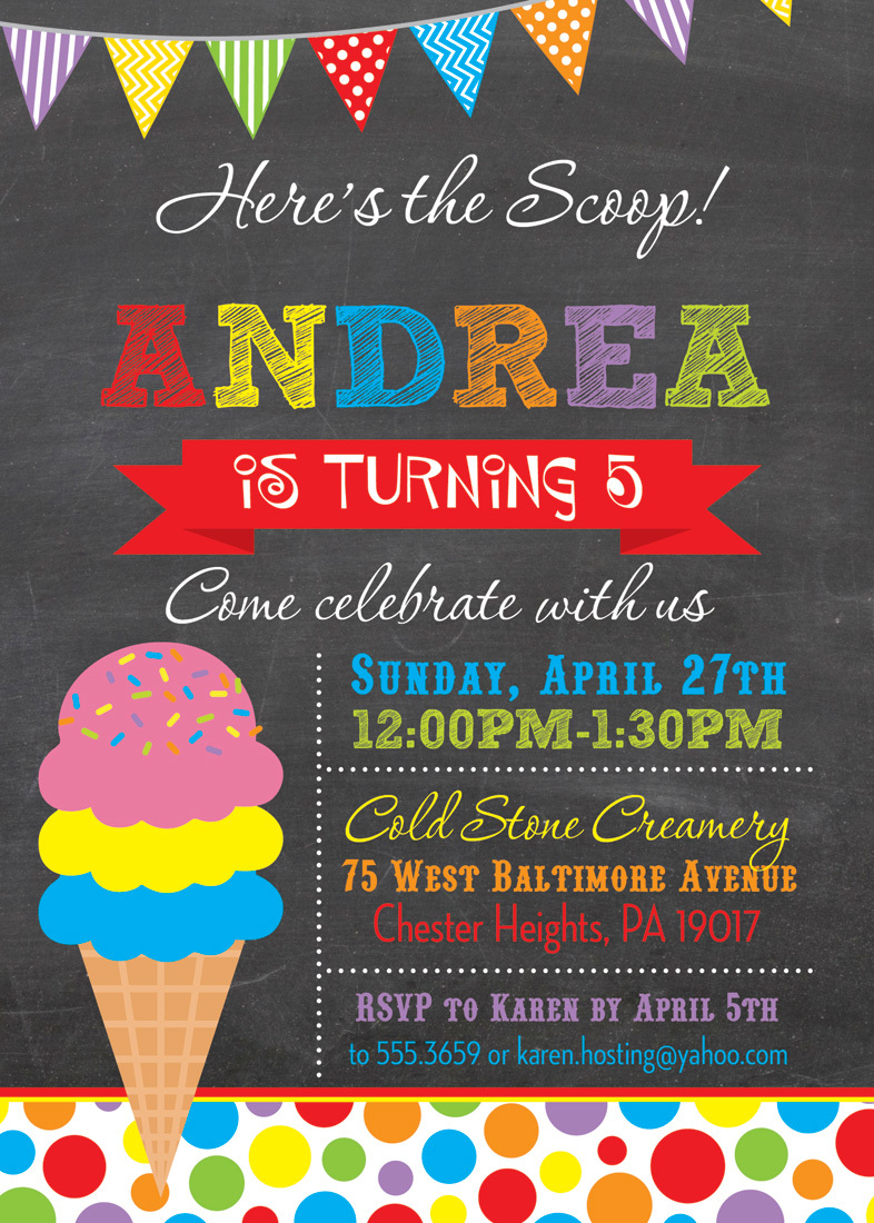 Here's the Scoop Pink Ice Cream Chalkboard Invitations