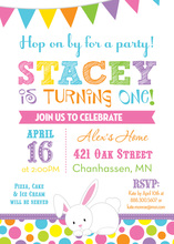 Easter Bunny Colorful Dots Birthday Invitations