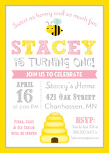 Yellow Border Honey Bee Pink Birthday Invitations