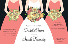 Modern Coral Bouquet Girls Bridal Shower Invitations