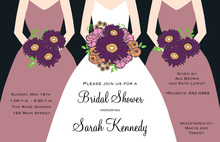Modern Quartz Bouquet Girls Bridal Shower Invitations
